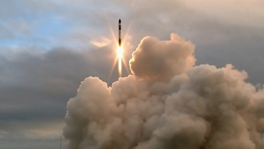 Rocket Lab's first Electron booster launches into space from the Mahia Peninsula in New Zealand on May 25, 2017. The rocket's upper stage failed to reach its intended orbit, company representatives said.
