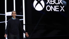 Kareem Choudhry, Xbox Vice President, introduces the Xbox One X gaming console during the Xbox E3 2017 media briefing in Los Angeles, California, U.S., June 11, 2017. REUTERS/Kevork Djansezian - RTS16MDI
