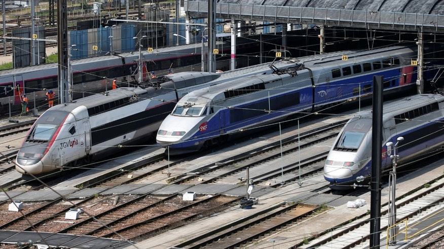 File photo - TGV trains (high speed train) are parked at a SNCF depot station in Charenton-le-Pont near Paris, France, during a national railway strike by French railway unions workers from the France's rail-operator SNCF, June 7, 2016. (REUTERS/Charles Platiau)