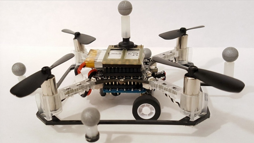 (One of the researchers' quadcopter drones with wheels. Photo: Brandon Araki/MIT CSAIL)