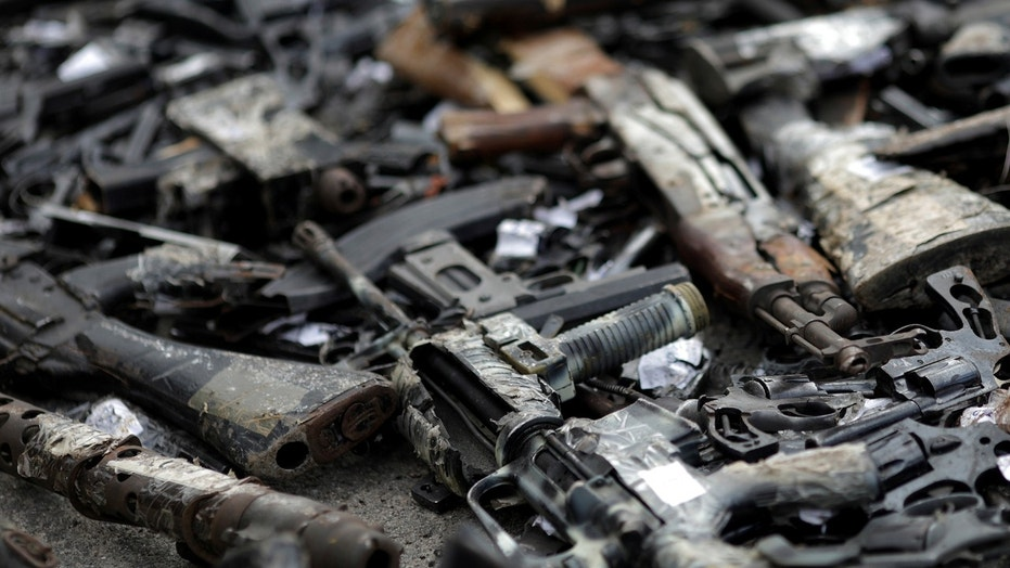 File photo: Destroyed guns, part of about 4,000 weapons seized by the Federal Police or delivered by residents during a campaign for the disarmament of the people, are pictured during a ceremony in Rio de Janeiro, Brazil June 2, 2017. (REUTERS/Ricardo Moraes)