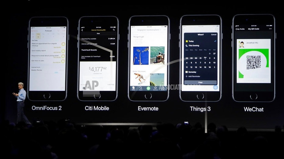 File photo: Craig Federighi, Apple's senior vice president of software engineering, speaks during an announcement of new products at the Apple Worldwide Developers Conference in San Jose, Calif., Monday, June 5, 2017. (AP Photo/Marcio Jose Sanchez)  (Copyright 2017 The Associated Press. All rights reserved.)