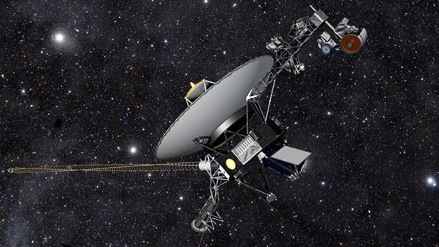 This artist rendering released by NASA shows NASAs Voyager 1 spacecraft barreling through space.