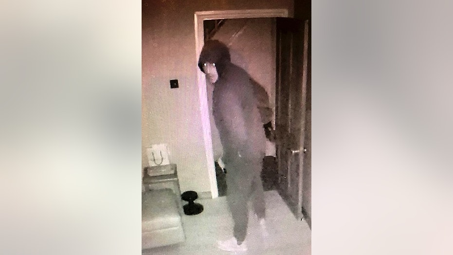 The burglar was caught on camera via a CCTV app.