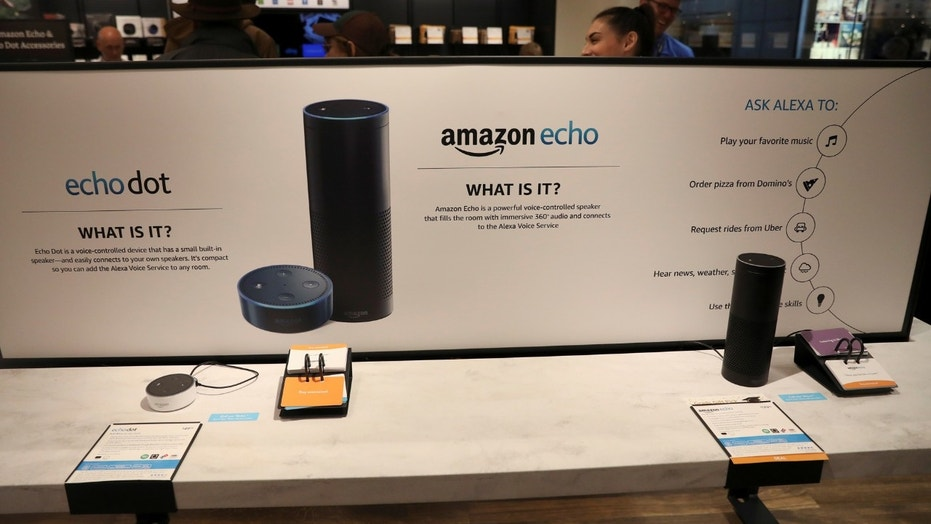 File photo: Displays for the echo dot and echo are seen inside the Amazon Books store in the Time Warner Center at Columbus Circle in New York City, New York, U.S., May 25, 2017. (REUTERS/Shannon Stapleton)