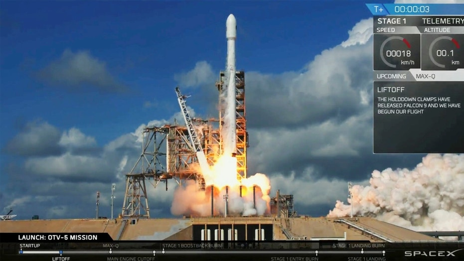 In this frame from video provided by SpaceX an unmanned Falcon rocket launches from Florida's Kennedy Space Center, Thursday, Sept. 7, 2017. It's the fifth flight for one of these crewless mini shuttles, known as the X-37B Orbital Test Vehicle. (SpaceX via AP)