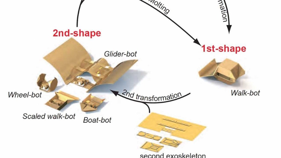 This tiny robot can transform, thanks to a special exoskeleton outfit. (Credit: Jason Dorfman, MIT CSAIL)