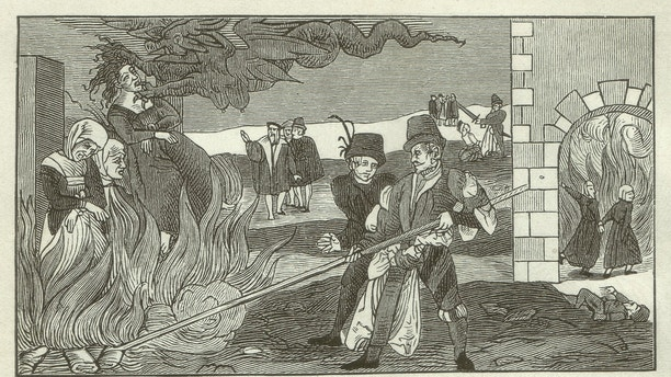 Witch-burning in the county Reinstein (Regenstein, Saxony-Anhalt, Germany) in 1555. Woodcut engraving after an original of a leaflet in the Collections of the Germanisches Nationalmusem in Nuremberg, published in 1881.