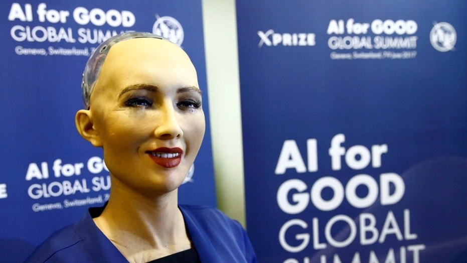 "File photo: ophia, a robot integrating the latest technologies and artificial intelligence developed by Hanson Robotics is pictured during a presentation at the ""AI for Good"" Global Summit at the International Telecommunication Union (ITU) in Geneva, Switzerland June 7, 2017. (REUTERS/Denis Balibouse)"