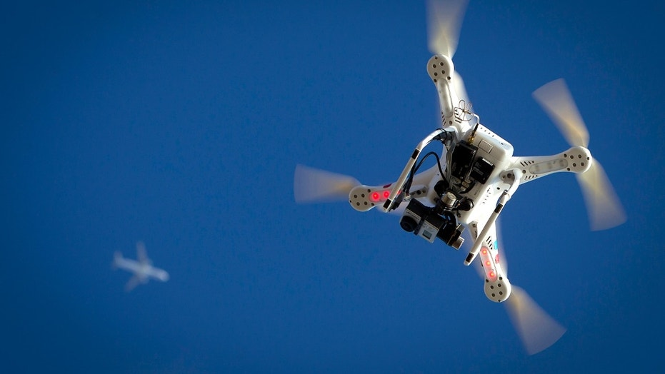 File photo - An airplane flies over a drone during the Polar Bear Plunge on Coney Island in the Brooklyn borough of New York Jan. 1, 2015.