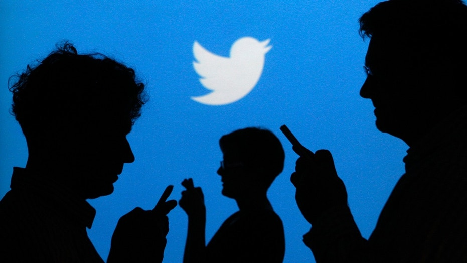 People holding mobile phones are silhouetted against a backdrop projected with the Twitter logo in this illustration picture taken in Warsaw September 27, 2013. (REUTERS/Kacper Pempel)