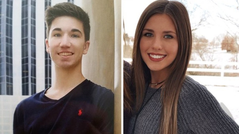"""Hayden Moll, left, accidentally swiped right the Tinder profile of Claudia Alley, right, and emailed the 22 """"Claudias"""" at Missouri State University in search of her."""