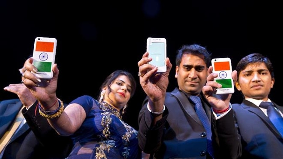A Freedom 251 smartphone is shown during its release by officials of Ringing Bells Pvt. Ltd. in New Delhi, India.
