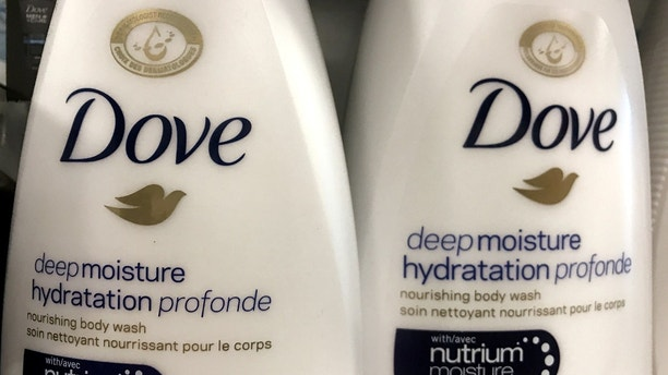 FILE PHOTO: Two bottles of Dove's Deep Moisture body wash are displayed in Toronto, Ontario, Canada, October 8, 2017.  REUTERS/Chris Helgren/File Photo - RC143722D4C0