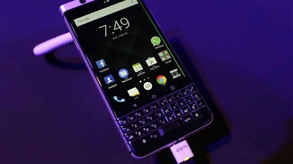 The BlackBerry KEYone is displayed before the Mobile World Congress in Barcelona, Spain, on Feb. 25, 2017.