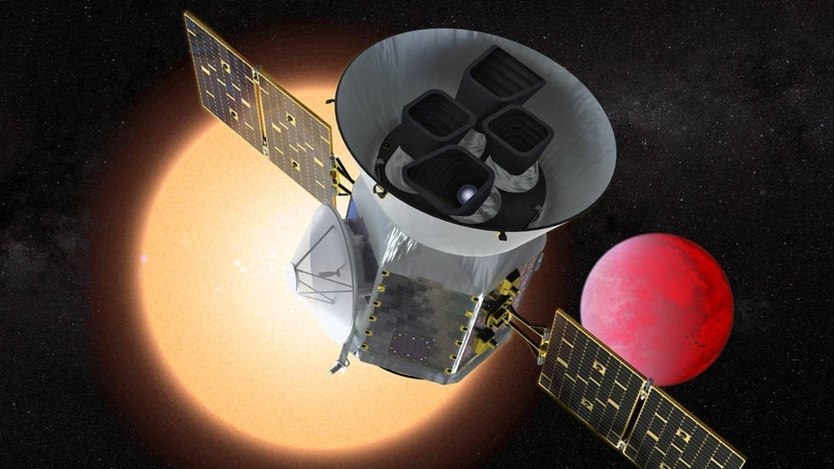 Illustration of the Transiting Exoplanet Survey Satellite in front of a lava planet orbiting its host star. TESS will identify thousands of potential new planets for further study and observation