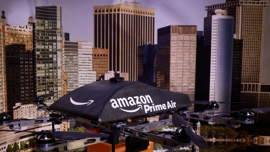 File photo: An Amazon Prime Air Flying Drone is displayed during the 'Drones: Is the Sky the Limit?' exhibition at the Intrepid Sea, Air & Space Museum in New York City, U.S., May 9, 2017. (REUTERS/Brendan McDermid)
