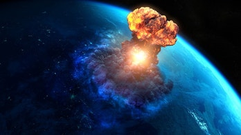 Nuclear bomb or asteroid impact creates a nuke mushroom