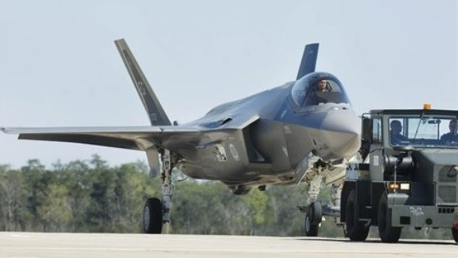 March 6, 2012: An Air Force Joint Strike Fighter is towed back to its hangar at Eglin Air Force Base, Fla.