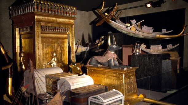 View of the Treasury chamber of Pharaoh Tutankhamun's tomb ahead of the opening of a major exhibition on the Ancient Egypt called 'Tutankhamun, his Tomb and his Treasures' in Paris May 11, 2012. The exhibition will run from May 12 to September 1, and will present three of Tutankhamun's tomb chambers which have been reconstructed true to the originals and their dimensions, and over 1,000 replicas of the most important objects, fashioned by the best Egyptian craftsmen.    REUTERS/Charles Platiau  (FRANCE - Tags: SOCIETY) - PM1E85B15C401