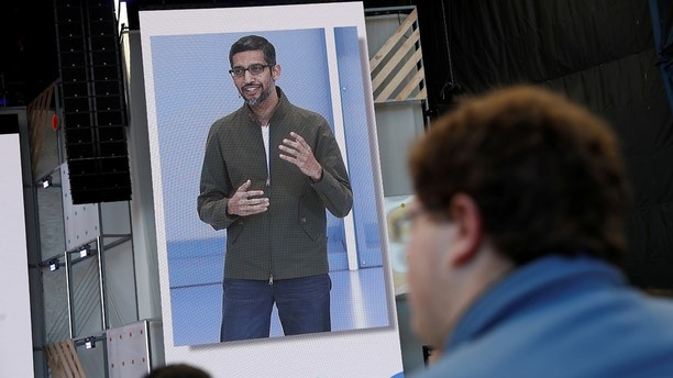 Google CEO Sundar Pichai speaks on stage during the annual Google I  O developers conference in Mountain View California