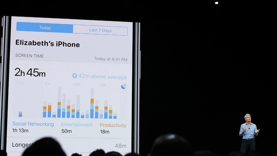 Craig Federighi, Apple's senior vice president of Software Engineering, speaks about screen time during an announcement of new products at the Apple Worldwide Developers Conference Monday, June 4, 2018, in San Jose, Calif. (AP Photo/Marcio Jose Sanchez)