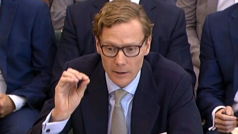 Former Chief Executive of Cambridge Analytica Alexander Nix, gives evidence to the Digital, Culture, Media and Sport Committee inquiry into fake news at Portcullis House in London, Wednesday, June 6, 2018. The former head of the defunct political consultant Cambridge Analytica clashed Wednesday with British lawmakers investigating the use of Facebook data in election campaigns, claiming that the firm had become the subject of global derision because of its involvement in Donald Trump's 2016 presidential campaign. (PA via AP)