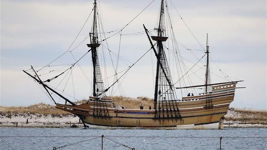 The Mayflower II, a replica of the original ship that brought the Pilgrims to Massachusetts in 1620, is seen in Plymouth, Mass., in 2014.