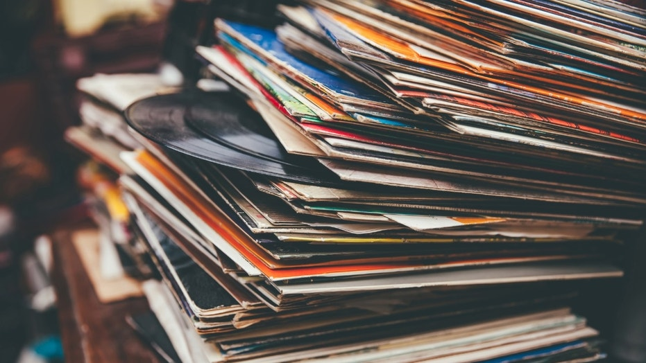 Retro styled lp annals on a flea market.  (Credit: iStock)
