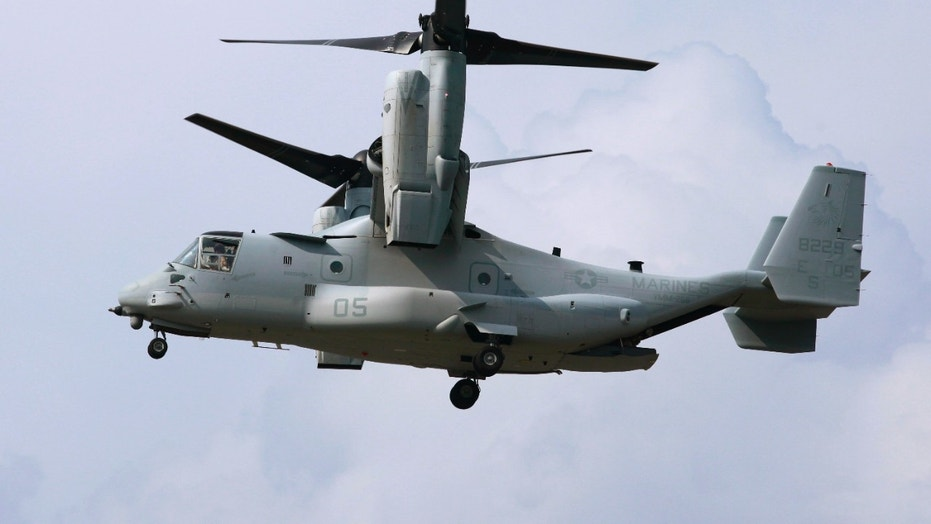 File photo - August 3, 2012: An MV-22 (Osprey) aircraft arrives for a test flight with the Japanese delegation at the Pentagon landing field in Washington.