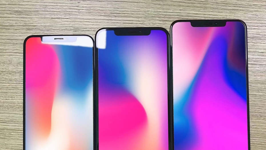 Renderings of a iPhone X, bill iPhone, and iPhone X Plus (left to right) (Credit: Ben Geskin)