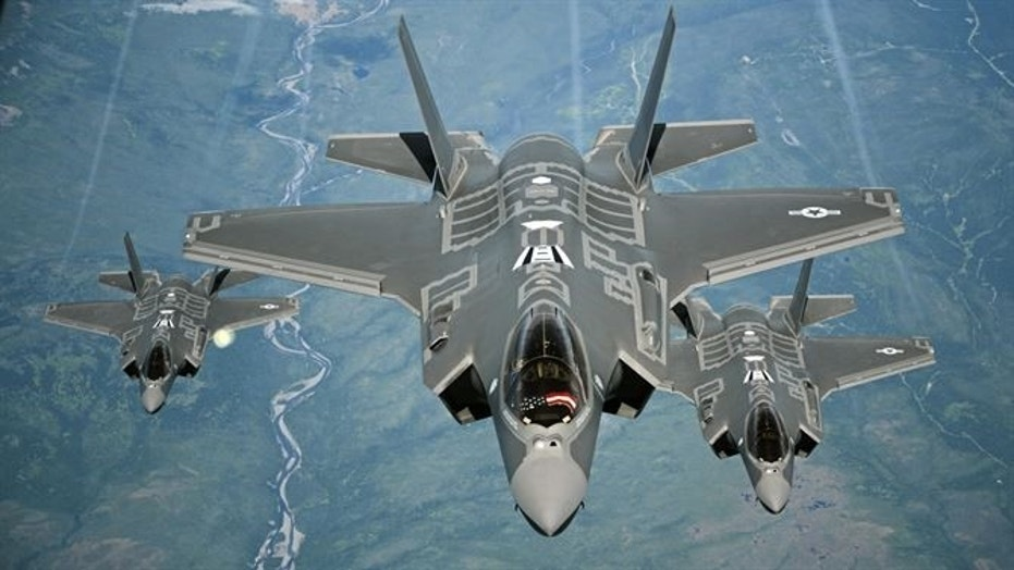 File photo - F-35A Lightning II aircraft receive fuel from a KC-10 Extender from Travis Air Force Base, Calif., July 13, 2015, during a flight from England to the U.S. (U.S. Air Force photo/Staff Sgt. Madelyn Brown)