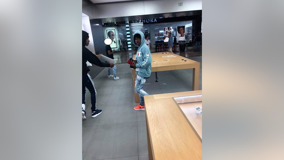 Police are searching for four suspects who robbed a Northern California Apple Store on Tuesday night.