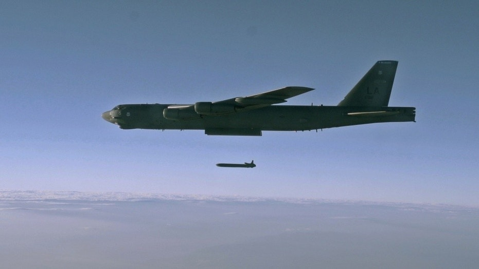 File photo - an unarmed AGM-86B Air-Launched Cruise Missile is released from a B-52H Stratofortress over the Utah Test and Training Range during a Nuclear Weapons System Evaluation Program sortie Sept. 22, 2014. (File photo by Staff Sgt. Roidan Carlson)