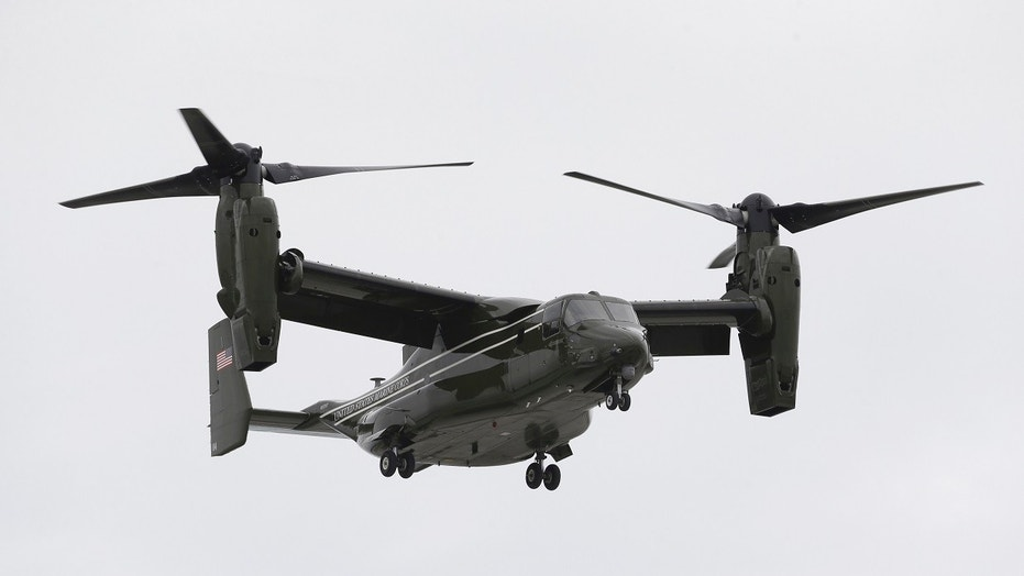 FILE - In this April 22, 2015 file photo, a Marine Corps MV-22 Osprey comes in for a landing at Miami International Airport. (AP Photo/Wilfredo Lee)