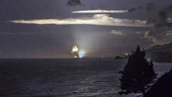 Aug. 25: A photo provided by Scott Wight shows the horizon from Cape Greville in Chiniak, Alaska, after a rocket carrying an experimental Army strike weapon exploded after taking off from a launch pad in Alaska.