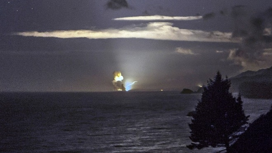 File photo: A photo provided by Scott Wight shows the horizon from Cape Greville in Chiniak, Alaska, after a rocket carrying an experimental Army strike weapon exploded after taking off from a launch pad in Alaska. (AP Photo/Scott Wight)