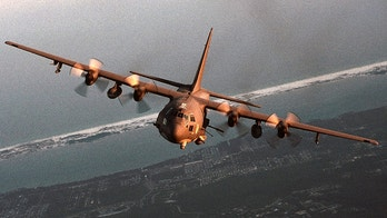 An undated file photo shows an AC-130 gunship. U.S. fighter jets and heavy airborne gunships joined a new assault on the besieged Iraqi city of Falluja April 28, 2004, local residents said. An hour after U.S. Marines encircling the town began shelling Falluja's Golan district, strike aircraft and what appeared to be at least one AC-130 gunship began pounding the area, as well as at least two other points in the city. (EDITORIAL USE ONLY) REUTERS/U.S. Air Force Photo  JDP/ - RP4DRIHSGKAB