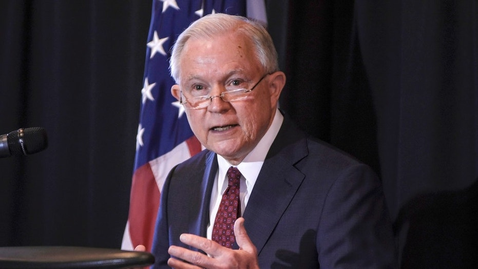 File print - United States Attorney General Jeff Sessions speaks about immigration during Parkview Field in Fort Wayne, Ind., Thursday, Jun 14, 2018. (Mike Moore/The Journal-Gazette around AP)