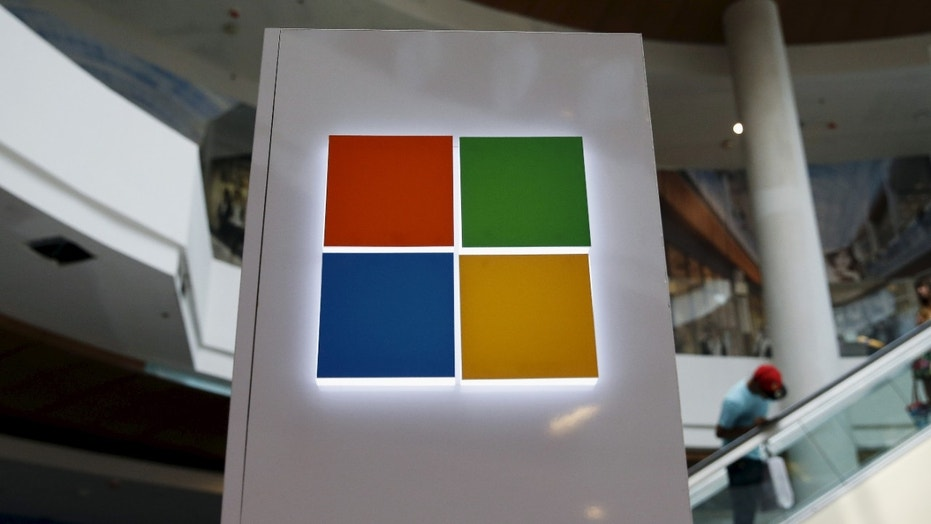 File photo: A Microsoft logo is seen at a pop-up site for Windows 10 operating system. (REUTERS/Shannon Stapleton)