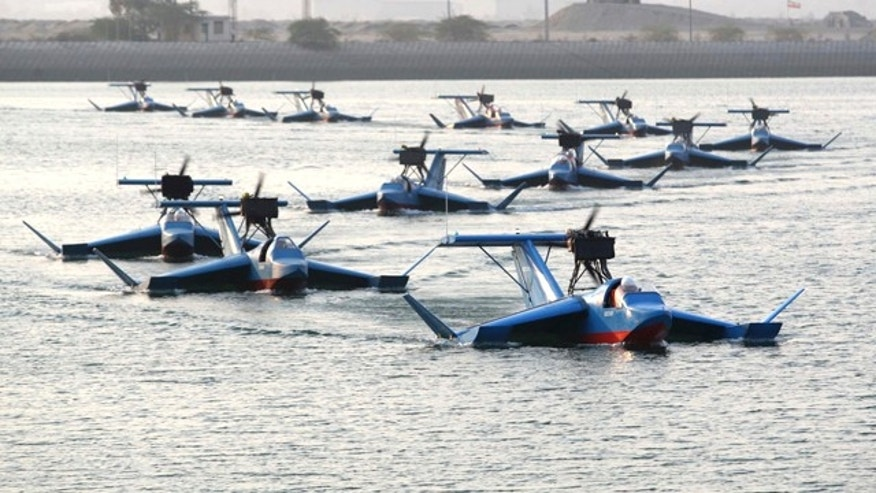This photo released on Tuesday, Sept. 28, 2010, by the Iranian Defense Ministry, claims to show the Bavar-2, or Confidence-2, radar-evading flying boats. Iran's state TV says the country's powerful Revolutionary Guard has received its first three squadrons of radar-evading flying boats. (AP Photo/Iranian Defense Ministry,Vahid Reza Alaei, HO) ** EDS NOTE: THE ASSOCIATED PRESS HAS NO WAY OF INDEPENDENTLY VERIFYING THE CONTENT, LOCATION OR DATE OF THIS IMAGE. **