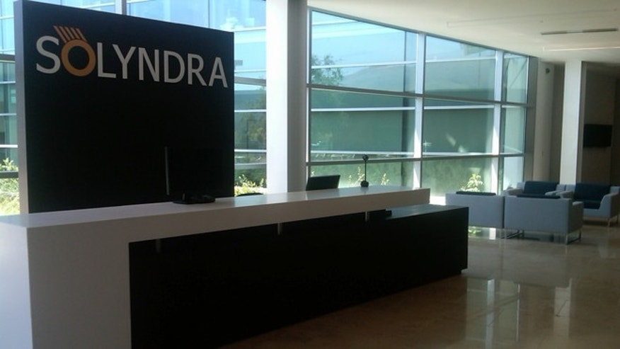 The lobby for Solyndra, part of the 411,618-square-foot, state-of-the-art facility being auctioned off in bankruptcy proceedings.