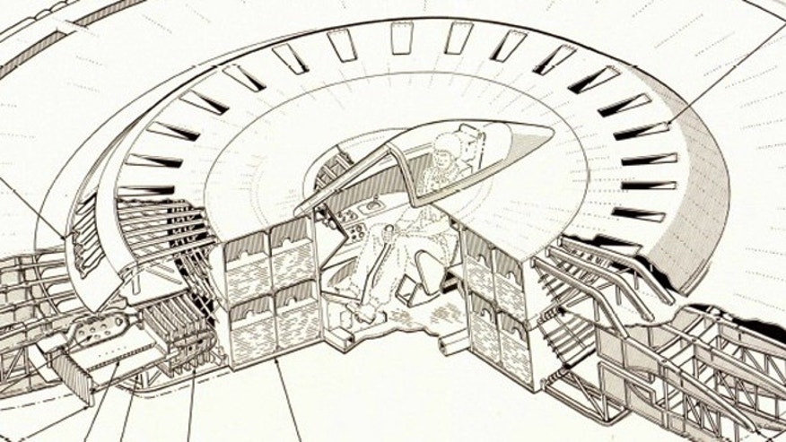A close-up image shows the cockpit from a 1950s Air Force concept for a flying saucer.