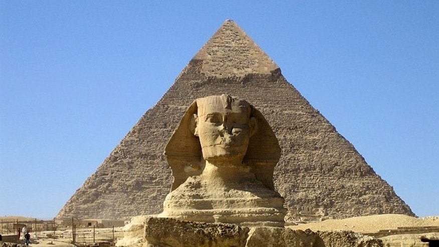 The Sphinx and the Khafre's Pyramid in Giza outside Cairo.