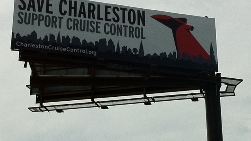 Billboard ad opposing cruise port improvements near historic district in Charleston, S.C.