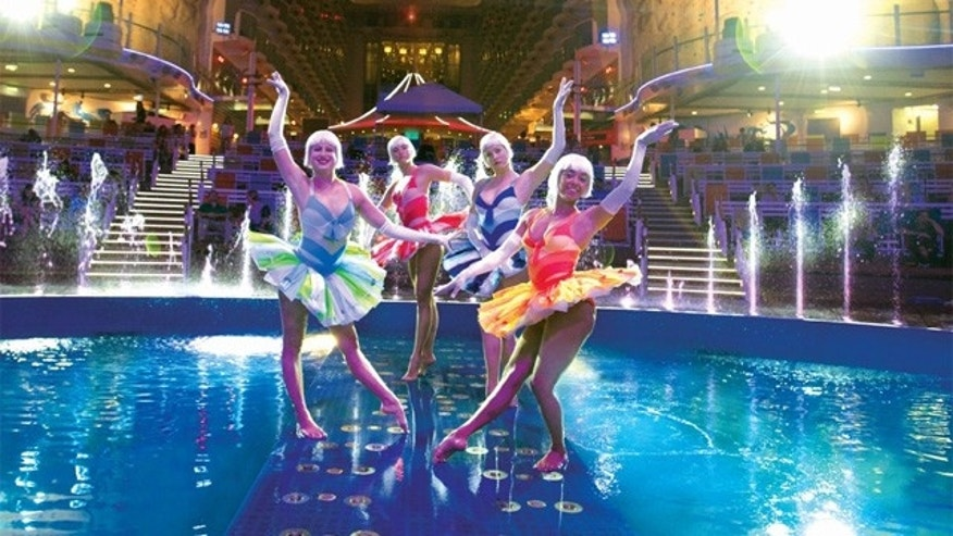 Performers in the AquaThreatre on Royal Caribbean.