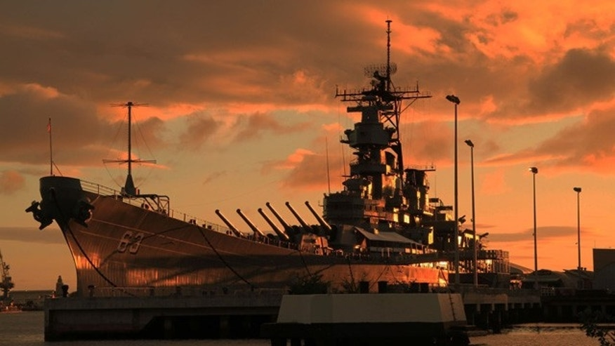 The USS Missouri at sunset, Oahu.