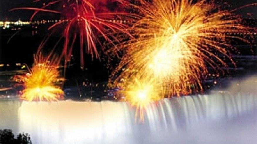 Celebrate the New Year with fireworks over Niagra Falls in Canada.