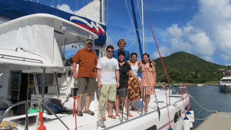 My gang on board our Catamaran Mary Morgan III in BVI.