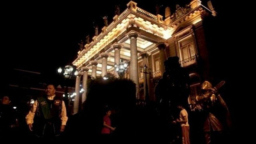 March 2, 2012: The Juarez theater is lit at night in the colonial city of Guanajuato, Mexico.